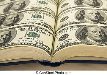 Dollars in book - Background of Money in book book with...