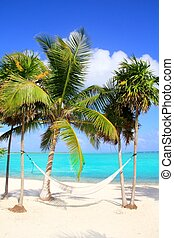 Caribbean sea with swing hammock turquoise beach Mayan...