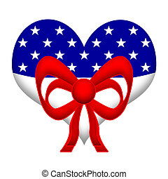 American Heart - US flag styled heart with red festive...