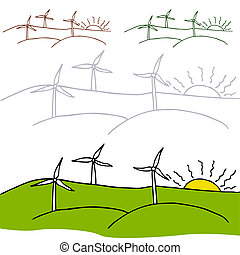 Wind Turbines - An image of a wind turbines in a field with...