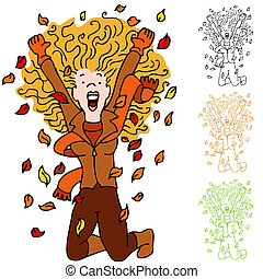 Autumn Leaf Girl - An image of a girl excited about fall...