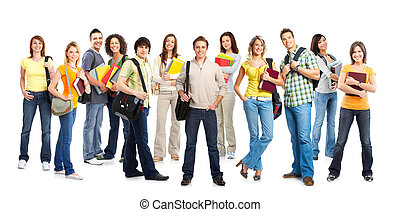 Students - Large group of smiling students Isolated over...