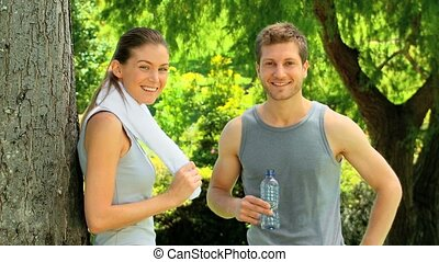 Couple resting after a run