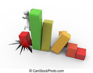 Bankrupt - 3d business man asking for help after financial...