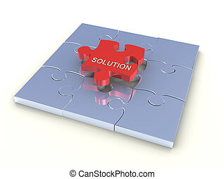 Problem solution concept - 3d render of puzzle with last red...