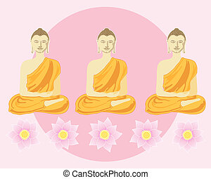 row of buddhas - an illustration of a row of buddhas with...