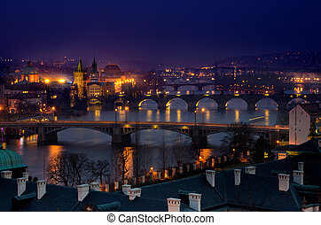 Prague Briges night panorama - Evening View of The Vltava...