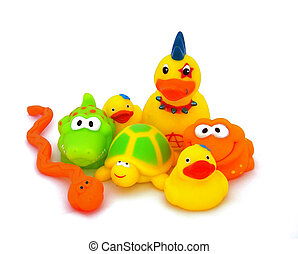 Childrens toys. - Seven colorful childrens toys. Made from...