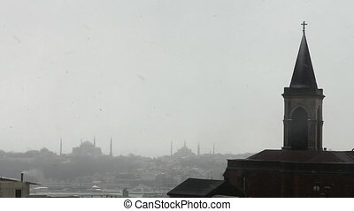 church view from istanbul historical peninsula during snow