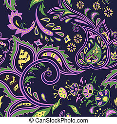 Eastern patterns seamless - Colorful dark blue seamless with...