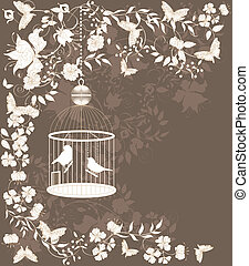 Vintage cage - Vintage background with flowers and birds in...