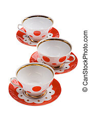 teacup - object on white - set of  color teacup