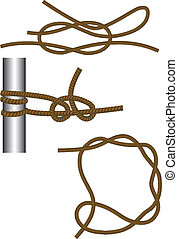 Sea knot: reef, round turn and half hitches and timber hitch...