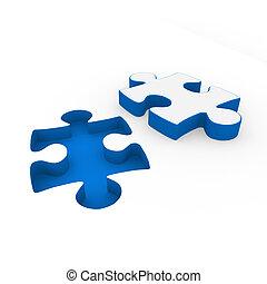 3d puzzle red white - 3d puzzle blue white success...
