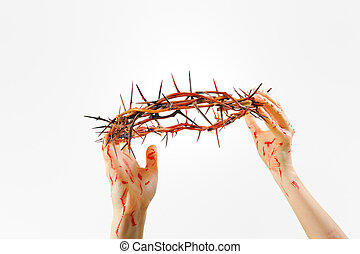 crown of thorns and hands