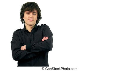 Smart young man smiling, isolated o