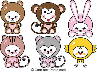 baby animals, vector - set of cute baby animals, vector...