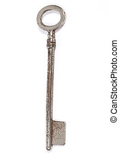 Vintage skeleton key - Old antique skeleton key on white