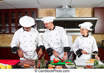 professional chefs cooking in industrial kitchen