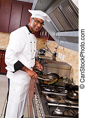 male professional chef cooking - young male professional...