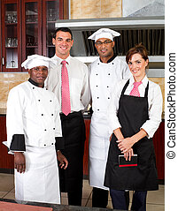 restaurant staff - group of restaurant staff inside...