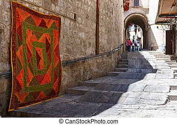 Old Town street - Street in the old part of Jerusalem,...