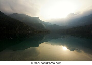 Misterious dawn - An image of a mountain lake at dawn