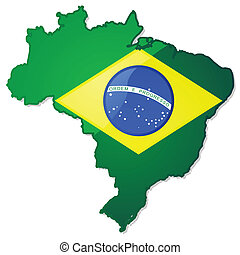 Brazil map with flag - Glossy illustration of a map of...