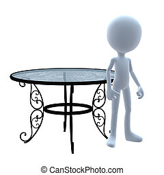 3D Guy Patio Furniture - 3D guy with patio furniture on a...