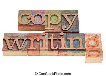 copywriting word in letterpress type - copywriting word in...