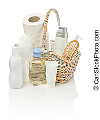 cosmetical items in basket