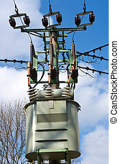 Transformer station on the pylon