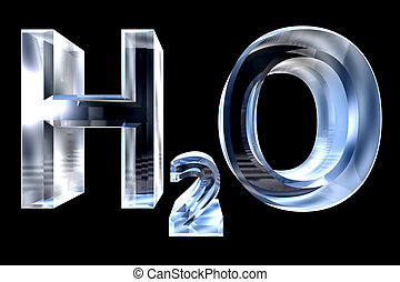 H2O - water chemical symbol - in glass 3d made