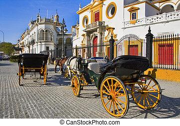 vrai, Maestranza, Caballeria, Sevilla, Séville,...