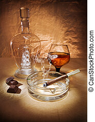 still life with cigar and cognac
