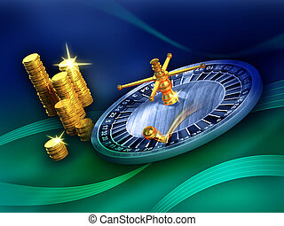 Roulette winner - Roulette wheel and some gold coins on a...