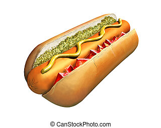 Hot dog with chopped tomato and relish. Digital...