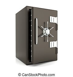 Safe - A open bank safe. 3D rendered Illustration. Isolated...