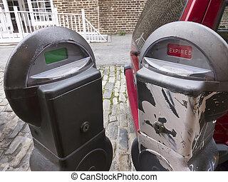 Parking Meter - Parking meters in a city environment