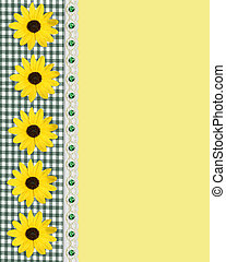 Daisy spring border green gingham - Image and illustration...