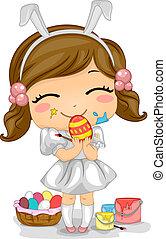 Girl Making Easter Eggs - Illustration of a Girl Making...