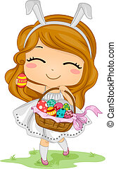 Girl Carrying Easter Basket - Illustration of a Little Girl...