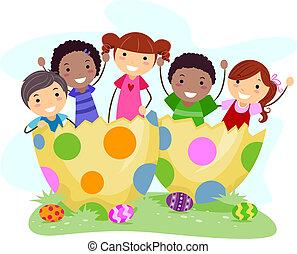 Kids Easter Eggs - Illustration of Kids Sitting on Giant...