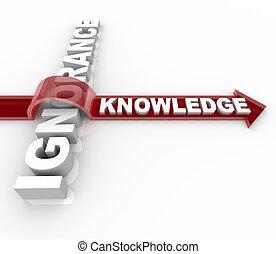 ignorancia, contra, conocimiento, -, educación, gana