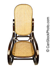 Sit down - dark brown rocking chair with yellow braided back...