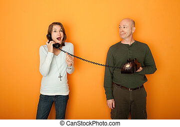 Excited Woman On Telephone