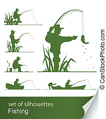 silhouette of fisherman vector illustration isolated on...