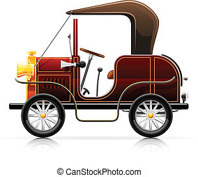 vintage red automobile vector illustration