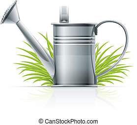 watering can and grass vector illustration isolated on white...