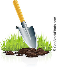 garden scoop and grass vector illustration isolated on white...
